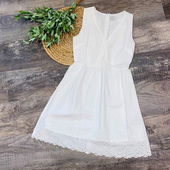 J. Crew white eyelet sleeveless dress size 00 NWOT
